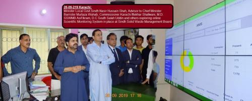 Minister Local Govt.of Sindh Nasir Hussain Shah, Advisor to Chief Minister Barrister Murtaza Wahab, Commissioner Karachi Iftekhar Shallwani, M.D. SSWMB Asif Ikram, D.C South Salah Uddin and others exploring online GIS Based monitoring system of Sindh Solid Waste Management Board.